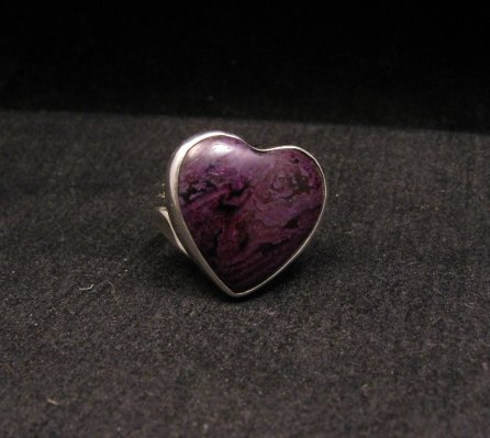 Image 5 of Navajo Orville Tsinnie Native American Sugilite Heart Silver Ring sz6-1/2