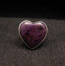 Navajo Orville Tsinnie Native American Sugilite Heart Silver Ring sz6-1/2