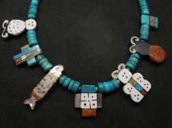 1990's Santo Domingo Pueblo Indian Mosaic Inlay Necklace, Mary Tafoya