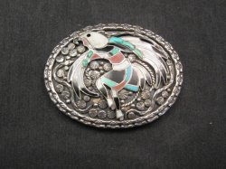 Vintage Zuni Inlay Eagle Dancer Silver Buckle, John Lucio