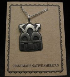 Hopi Indian Sterling Silver Thunderclouds Pendant Necklace, Duane Tawahongva