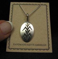 Hopi Native Americ Sterling Silver Corn Plant Pendant Necklace, Duane Tawahongva