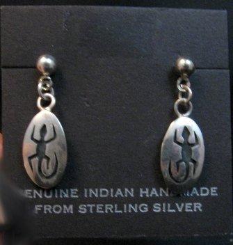 Image 0 of Vintage Hopi Sterling Silver Lizard Earrings, Norman Honie, Jr.
