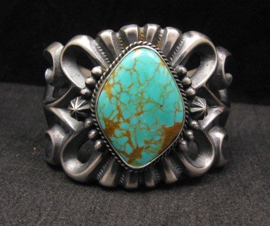 Image 0 of Wide Navajo ~ Harrison Bitsue ~ Sandcast Turquoise Silver Bracelet