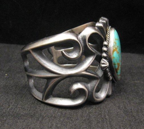 Image 1 of Wide Navajo ~ Harrison Bitsue ~ Sandcast Turquoise Silver Bracelet