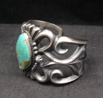 Image 2 of Wide Navajo ~ Harrison Bitsue ~ Sandcast Turquoise Silver Bracelet