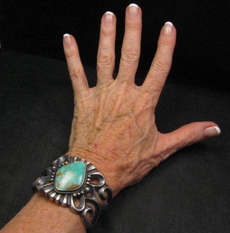 Image 3 of Wide Navajo ~ Harrison Bitsue ~ Sandcast Turquoise Silver Bracelet