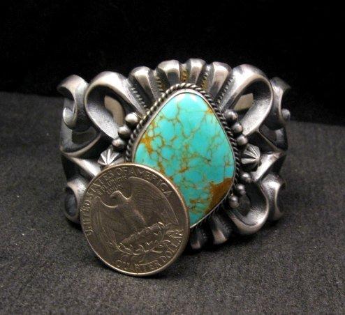 Image 4 of Wide Navajo ~ Harrison Bitsue ~ Sandcast Turquoise Silver Bracelet