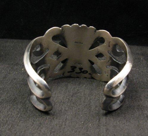 Image 5 of Wide Navajo ~ Harrison Bitsue ~ Sandcast Turquoise Silver Bracelet