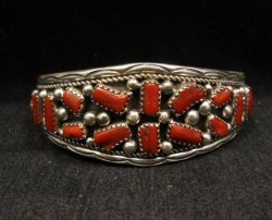Native American Indian Jewelry Coral Sterling Silver Bracelet