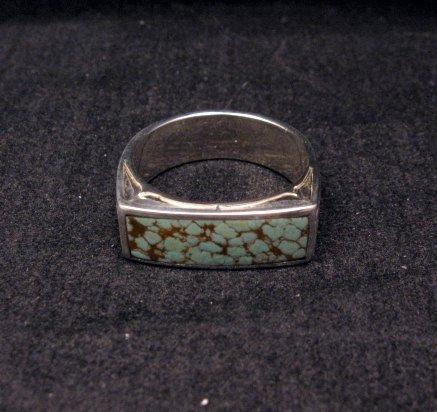 Image 1 of Shane Hendren Navajo #8 Turquoise Engraved Sterling Silver Ring sz10-1/2