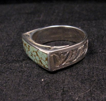 Image 2 of Shane Hendren Navajo #8 Turquoise Engraved Sterling Silver Ring sz10-1/2