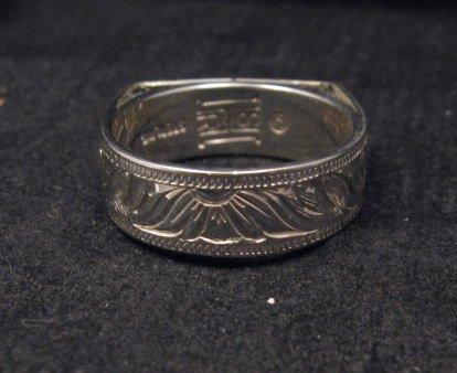 Image 3 of Shane Hendren Navajo #8 Turquoise Engraved Sterling Silver Ring sz10-1/2