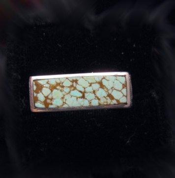 Image 4 of Shane Hendren Navajo #8 Turquoise Engraved Sterling Silver Ring sz10-1/2