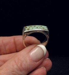Shane Hendren Navajo #8 Turquoise Engraved Sterling Silver Ring sz10-1/2