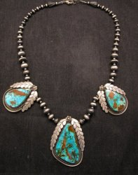 Navajo Native American Royston Turquoise Sterling Silver Bead Necklace