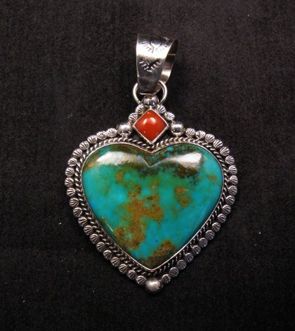 Image 0 of Navajo Native American Turquoise Sterling Silver Heart Pendant, Martha Willeto