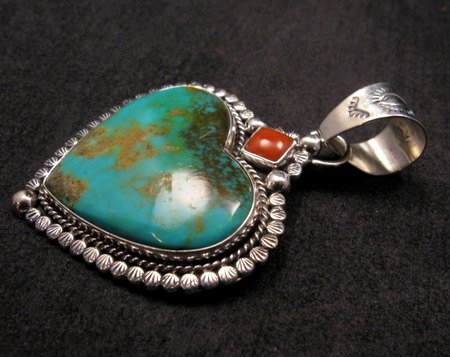 Image 1 of Navajo Native American Turquoise Sterling Silver Heart Pendant, Martha Willeto