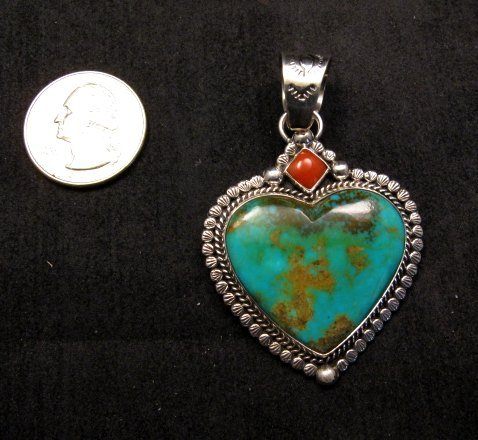 Image 2 of Navajo Native American Turquoise Sterling Silver Heart Pendant, Martha Willeto