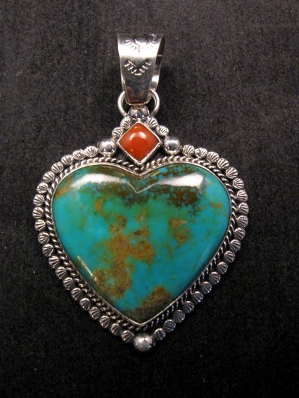 Image 3 of Navajo Native American Turquoise Sterling Silver Heart Pendant, Martha Willeto