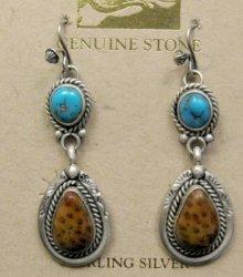 Navajo Indian Turquoise Petrified Palm Wood Earrings, Martha Willeto