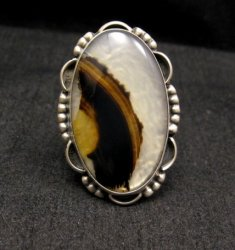 Native American Navajo Montana Agate Sterling Silver Ring sz6-1/2 - 7-1/2