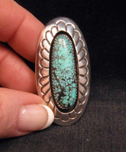 Image 1 of Long Navajo Indian Turquoise Shadowbox Ring sz7-3/4, Gene & Martha Jackson