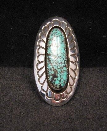 Image 4 of Long Navajo Indian Turquoise Shadowbox Ring sz7-3/4, Gene & Martha Jackson