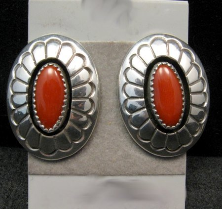 Image 0 of Navajo Native American Coral Shadowbox Earrings, Gene & Martha Jackson