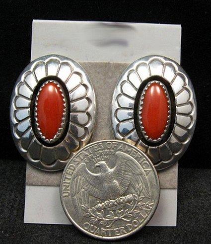Image 1 of Navajo Native American Coral Shadowbox Earrings, Gene & Martha Jackson