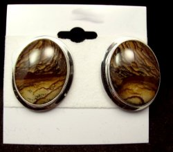 Gene & Martha Jackson Navajo Jasper Silver Post Earrings