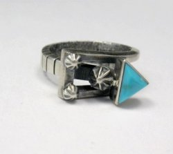 Native American Navajo Turquoise Silver Arrow Ring by Ronnie Henry, sz9-1/2