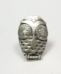 Whimsical Native American Indian Sterling Silver Owl Ring sz 5-1/2