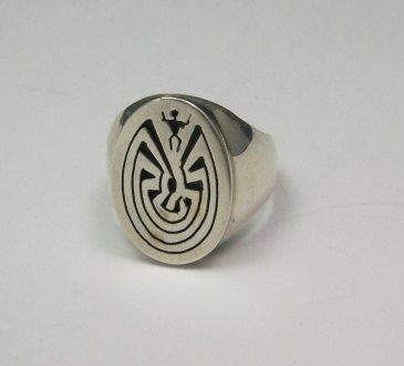 Image 1 of Native American Sterling Silver Man in the Maze Ring many sizes, Calvin Peterson