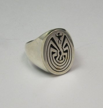 Image 2 of Native American Sterling Silver Man in the Maze Ring many sizes, Calvin Peterson