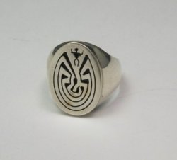 Native American Sterling Silver Man in the Maze Ring sz11, Calvin Peterson