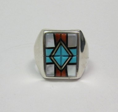 Image 0 of Native American Zuni - Natachu - Multi-Gem Inlay Mens Ring sz11-1/2