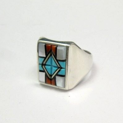 Image 1 of Native American Zuni - Natachu - Multi-Gem Inlay Mens Ring sz11-1/2
