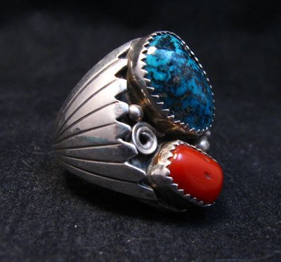 Image 1 of Navajo Native American Turquoise Coral Silver Ring Sz10
