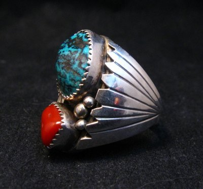 Image 2 of Navajo Native American Turquoise Coral Silver Ring Sz10