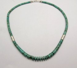 James & Doris Coriz Santo Domingo Turquoise Heishi & Silver Necklace