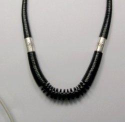 James & Doris Coriz Santo Domingo Black Jet Heishi & Silver Necklace