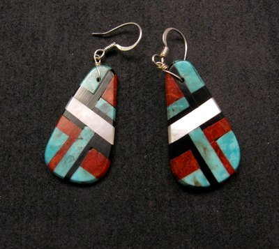 Image 0 of Santo Domingo Multi-stone Inlay Earrings, James Del & Doris Coriz