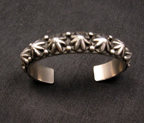 Image 0 of Navajo Old Pawn Style Starred Button Studded Silver Bracelet Happy Piasso, Small