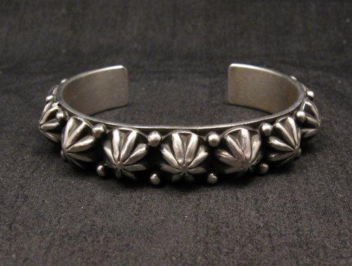 Image 1 of Navajo Old Pawn Style Starred Button Studded Silver Bracelet Happy Piasso, Small