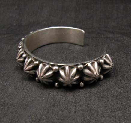 Image 2 of Navajo Old Pawn Style Starred Button Studded Silver Bracelet Happy Piasso, Small