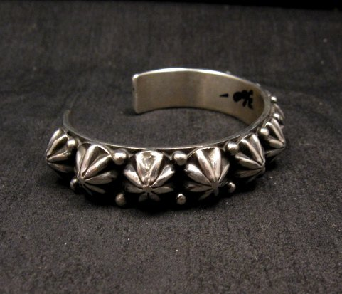 Image 3 of Navajo Old Pawn Style Starred Button Studded Silver Bracelet Happy Piasso, Small