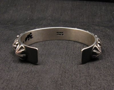 Image 5 of Navajo Old Pawn Style Starred Button Studded Silver Bracelet Happy Piasso, Small
