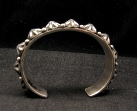 Image 7 of Navajo Old Pawn Style Starred Button Studded Silver Bracelet Happy Piasso, Small