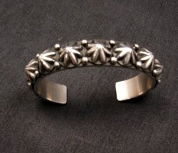 Navajo Old Pawn Style Starred Button Studded Silver Bracelet Happy Piasso, Small
